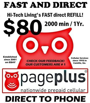 Page Plus $80 >FASTEST< Direct Online REFILL 1 year/2000 minutes USA DEALER