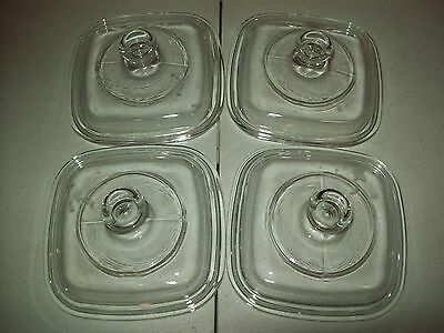 Lot of 4 New Corning Ware Petite Glass Pyrex Lids  Fit P-41 & P-43 Casseroles