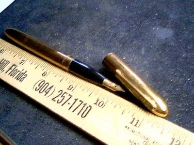 1930s BRASS Peerless Fountain PEN antique vintage old Signature point Art Deco
