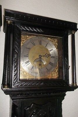 Antique Oak Longcase Grandfather Clock Hand Carved Circa 1790