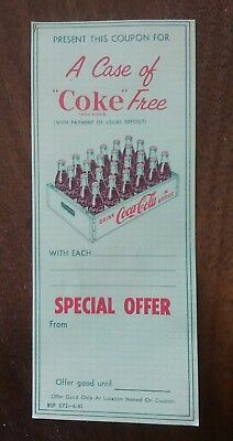 Coca Cola Coupon for A Case of COKE Free, unused