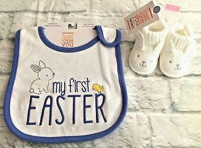 Just One You By Carter's My First Easter Bib & White Bunny Booties Newborn NIP