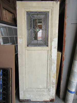 ~ ANTIQUE AMERICAN STAINED GLASS DOOR ~ 30 x 77 ~ ARCHITECTURAL SALVAGE ~