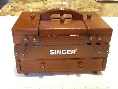 Vintage Singer Wood Sewing Box Folding Accordian Thread And Small Kit