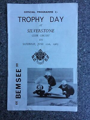 Motor Cycle Racing programme Silverstone 12th June 1965