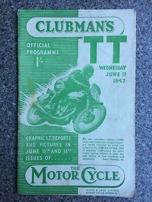 Motor Cycle Racing programme Isle of Man TT 11th June 1947