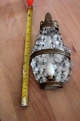 Vintage French  Gilded Bronze Empire Style Basket Prism Wall Sconces