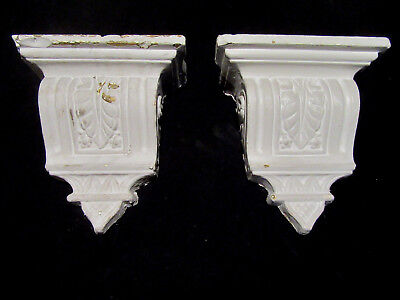 Pair Of Ornate Antique Plaster Corbels ~ 12 Inches Tall ~ Architectural Salvage