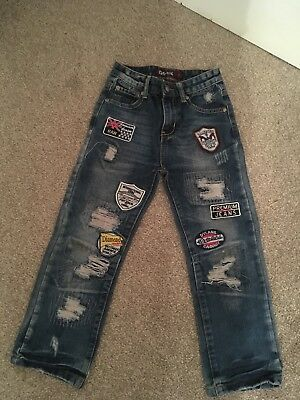 Boys GS-115 Jeans With Patches/Badges Age 7