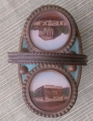 Antique Glass bottom hand painted sewing needle holder