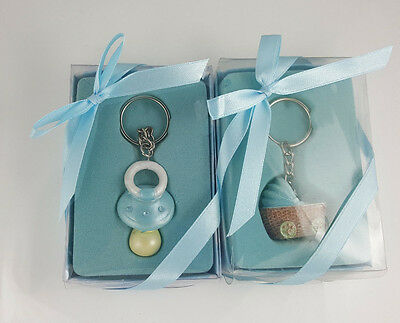Lot of 2 Lunaura Baby Keepsake Boy Baby Stroller and Pacifier Keychains
