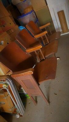WOW! REDUCED Vintage Wood Theater Iron Seating Chairs 5 Sections Avail $50 Each!