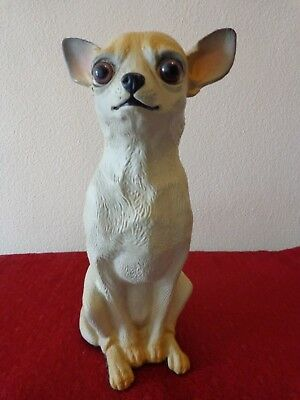 2001 Chihuahua Dog Collectible Large Resin Statue Figurine Sculpture USA, Marked