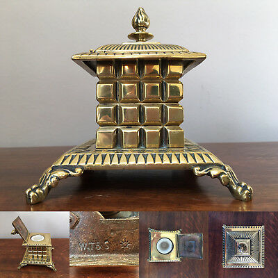Antique William Tonks and Sons Brass Inkwell