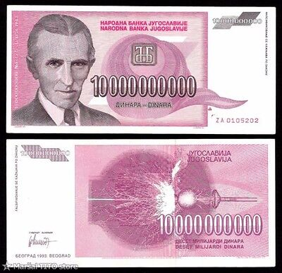 Nikola Tesla - Hyperinflation Yugoslavia - 10 Billion - Circulated Condition