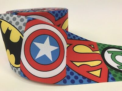 BY The Yard 3 Inch Colorful Super Heroes Grosgrain Ribbon Hair Bows Lisa