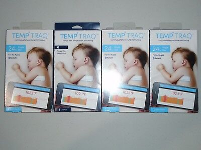 4 PACK Temp Traq Temperature Tracking 24hr Patches Bluetooth Thermometer 06/2018