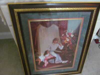 """Home Interior / Homco Picture """" Mother May I Play"""" 34 X 27 Beautifully Framed"""