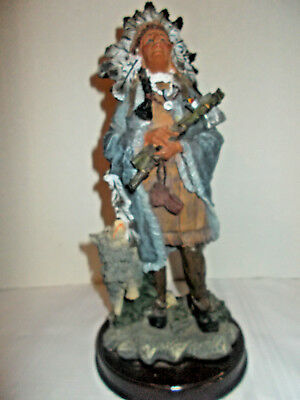 Native American Indian Chief with a Wolf in a Headdress- Resin Statue Figurine