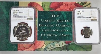 1997-P Botanic Garden Coin & Currency NGC $1 MS 69 / 5c SP 69 $$250 List