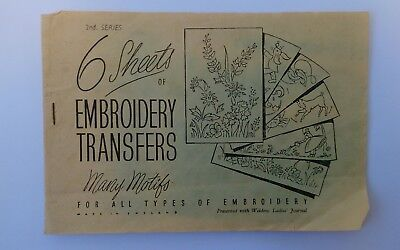 vintage embroidery transfers Weldons Ladies journal floral zodiac fancy work sew