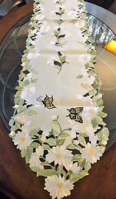 "Yellow Butterfly & Daisy Table Runner Dresser Scarf 69""x14 Embroider Table Linen"