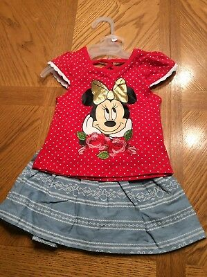 DISNEY JR - Toddler Girl Minnie Mouse S/S Red shirt and skort -- Size 2T -- NWT