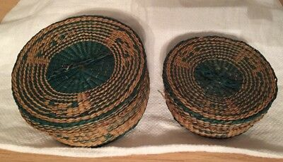 Lot of 2 Vintage Round Woven Baskets with Lids Green & Tan Hand Woven Baskets