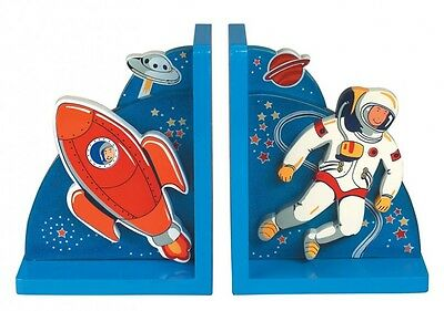 Children's wooden fairtrade bookends-Space