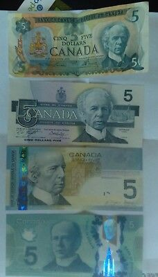 Set of  Canadian $5 Banknotes different Years