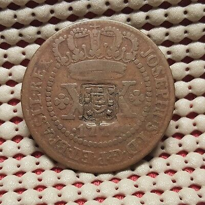 1774 Brazil 20 Reis Copper Coin Counterstamped 1809 40 Reis