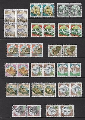 ITALY - 1980+ Castles, joined pairs strip block, used