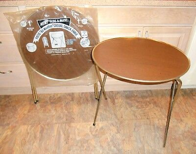 """2 Vtg 24"""" Round MARSH ALLEN GLIDE A MATIC Patio Snack TRAY TABLES Folding"""
