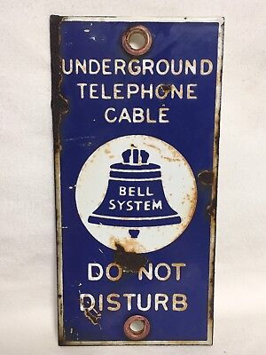 Vintage BELL SYSTEM Porcelian Sign DO NOT DISTURB Bell South from Meridian Miss