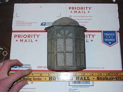 Lovely 1930s copper and glass light lamp shade fixture pendant  Great shape, its
