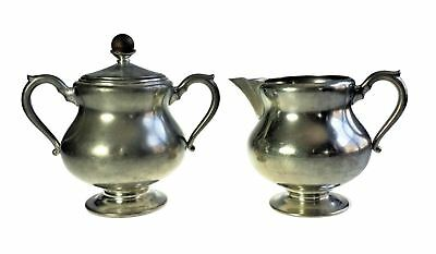 KMD Royal Holland Pewter Covered Sugar Bowl Creamer Pitcher