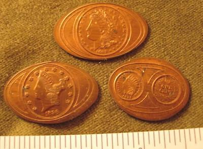 3 Elongated cents with coin impressions.---see pics