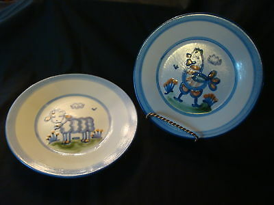 2 Signed M.A. Hadley Blue Hand Painted Rooster and Sheep Pottery Dinner Plates