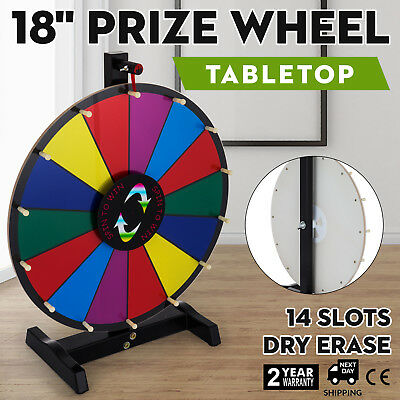 """18"""" Tabletop Color Prize Wheel Spinnig Game Stand Parties Dry Erase Mark Pen"""
