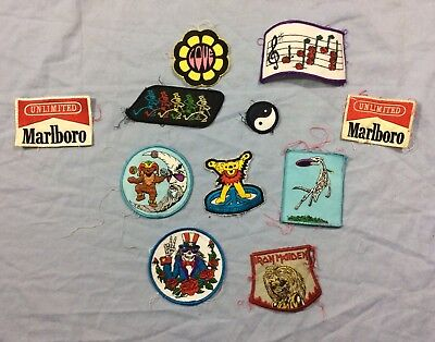 GRATEFUL DEAD Marlboro Lot of 11 Vintage Embroidered Patches Rock Iron Maiden 80