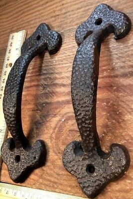 "2 Door Barn Cast Iron Gate Pull Shed Handle Rustic Antique Style Handles 7"" H"