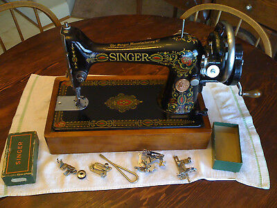 Singer model 66.Hand Crank sewing machine. Made 1919 (Redeye)  Serial # G7388068