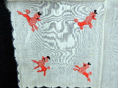 """1950's VINTAGE WHITE WITH RED POODLE DOGS HANKY HANDKERCHIEF 10"""" X 10"""" - NO RES"""