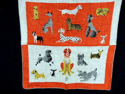 VINTAGE 1950's RED & WHITE POODLE DOGS HANKY HANDKERCHIEF - SIGNED TAMMIS KEEFE