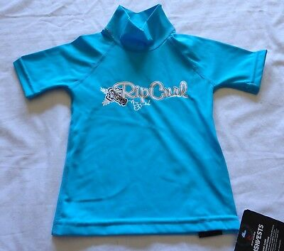 Baby Girls size 0  RIP CURL blue Short sleeve Rash vest UPF50+ NEW  *white marks