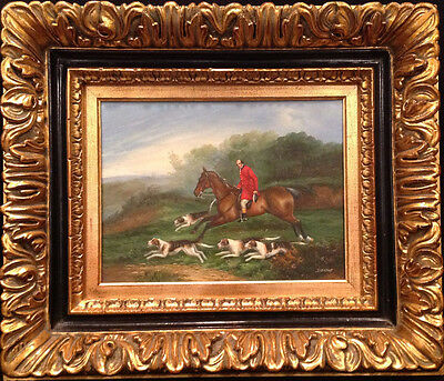 Antique BEAUTIFUL  Original English Fox Hunt Oil Painting by Stevens, CoA incld