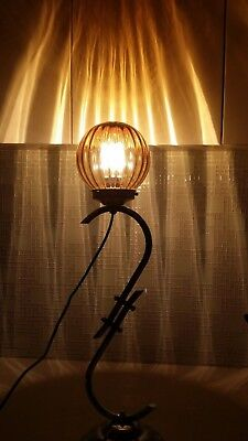 Art Deco Vintage Chrome & Metal Floor Lamp Amber Glass Fitting 67cmH