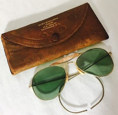 VINTAGE GOLD Tone  AVIATOR  SUNGLASSES with Leather Looking CASE