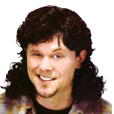 Black Brown Mullet Wig Bogan 80s Fancy Dress Party Costume Rock Aussie Bogan Wig
