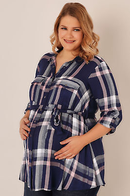 Plus Size BUMP IT UP MATERNITY Blue & Pink Check Shirt With Waist Tie Size 18